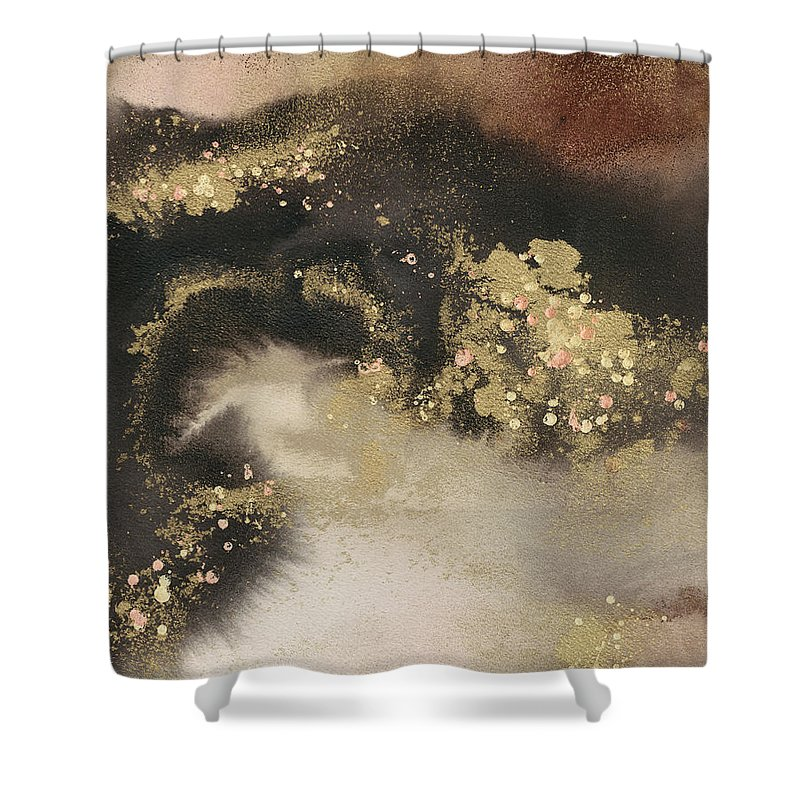 Embellished Shower Curtain featuring the painting Mountain Seasons IIi by Joyce Combs