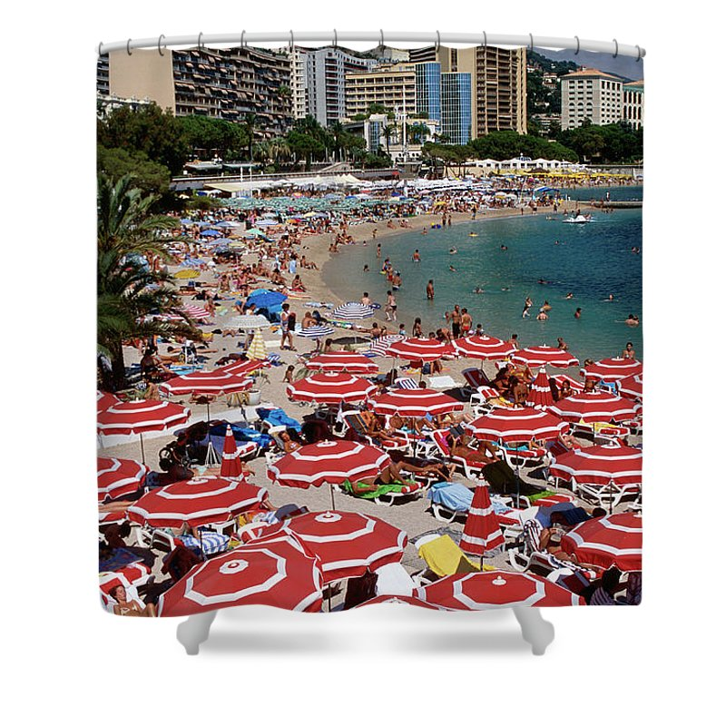 Shadow Shower Curtain featuring the photograph Overhead Of Red Sun Umbrellas At by Dallas Stribley