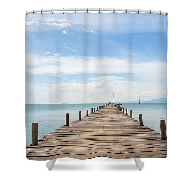 Scenics Shower Curtain featuring the photograph Pier On Koh Samui Island In Thailand by Pidjoe