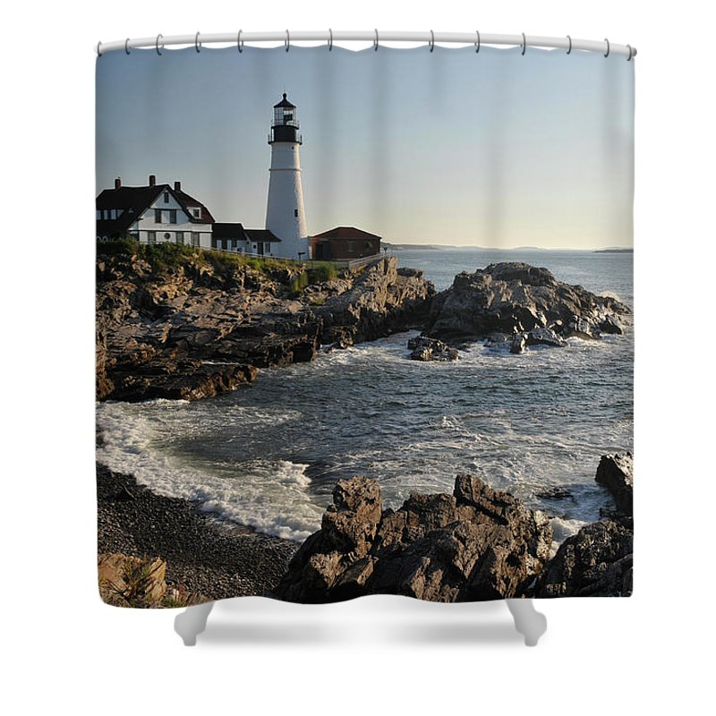 Water's Edge Shower Curtain featuring the photograph Portland Head Light by Aimintang