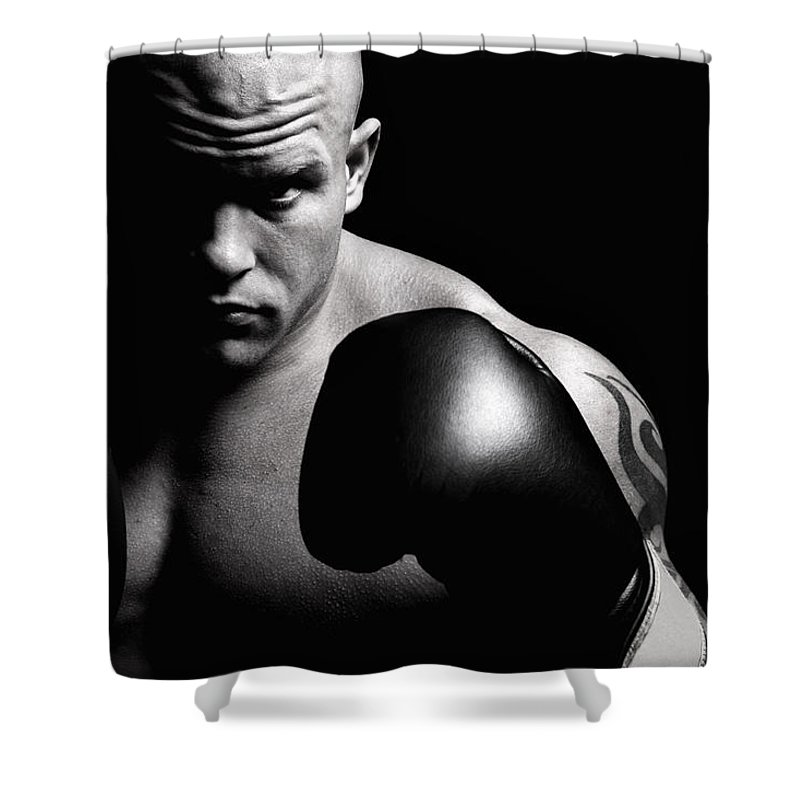 Toughness Shower Curtain featuring the photograph Powerful Fighter Portrait by Vuk8691