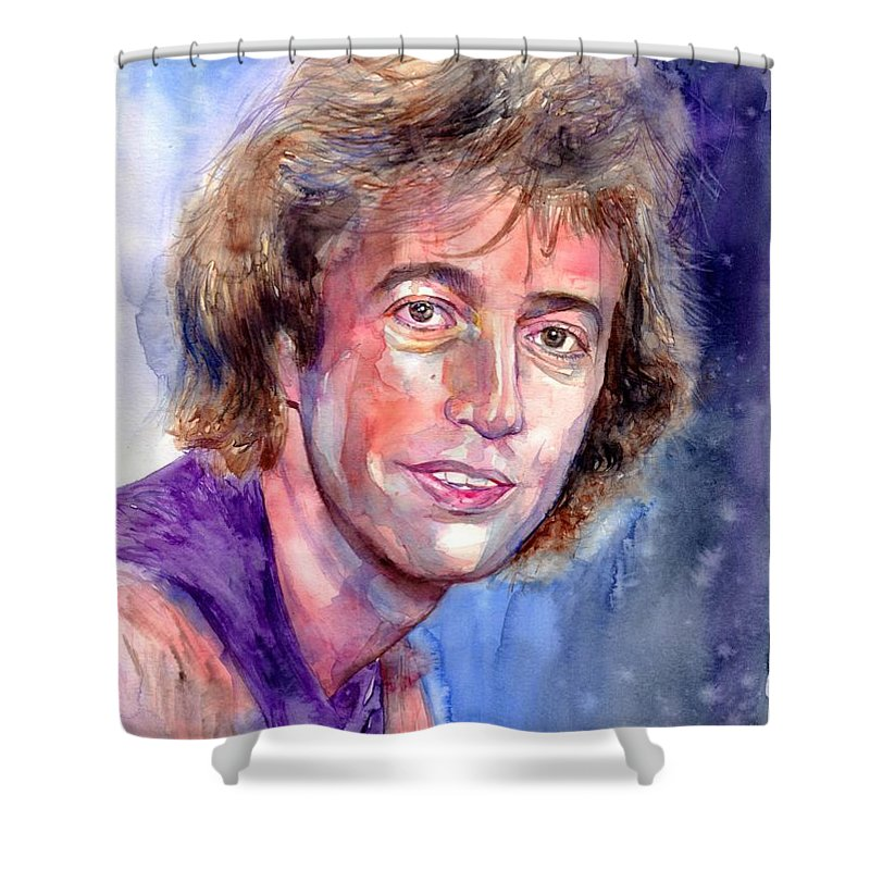 Robin Shower Curtain featuring the painting Robin Gibb Portrait by Suzann Sines
