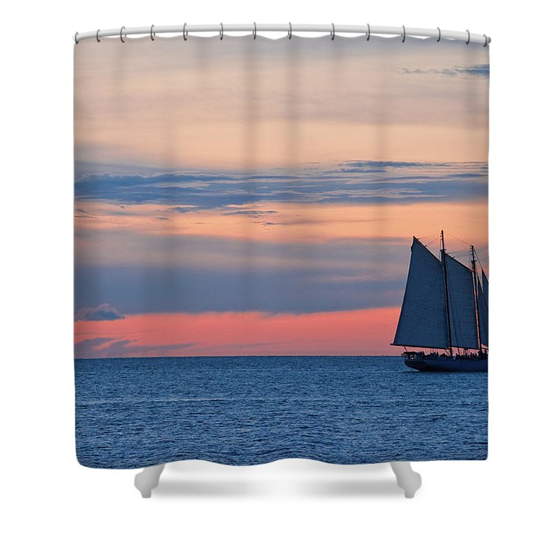 Sailboat Shower Curtain featuring the photograph Sailboat At Sunset by Thepalmer