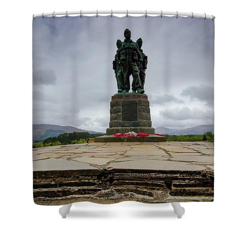 Commando Memorial Shower Curtain featuring the mixed media Scottish Commando Memorial 1 by Smart Aviation