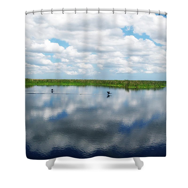 Beautiful Shower Curtain featuring the photograph Skyscape Reflections Blue Cypress Marsh Near Vero Beach Florida C6 by Ricardos Creations
