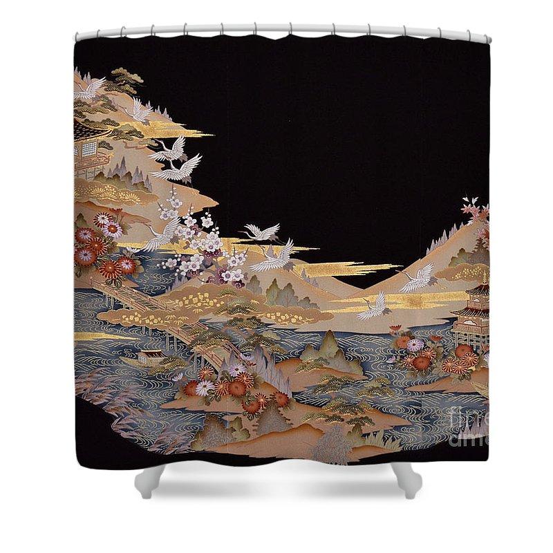 Shower Curtain featuring the digital art Spirit of Japan T88 by Miho Kanamori