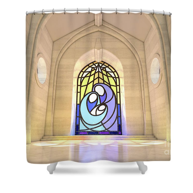 Nativity Shower Curtain featuring the digital art Stained Glass Window Nativity Scene by Allan Swart