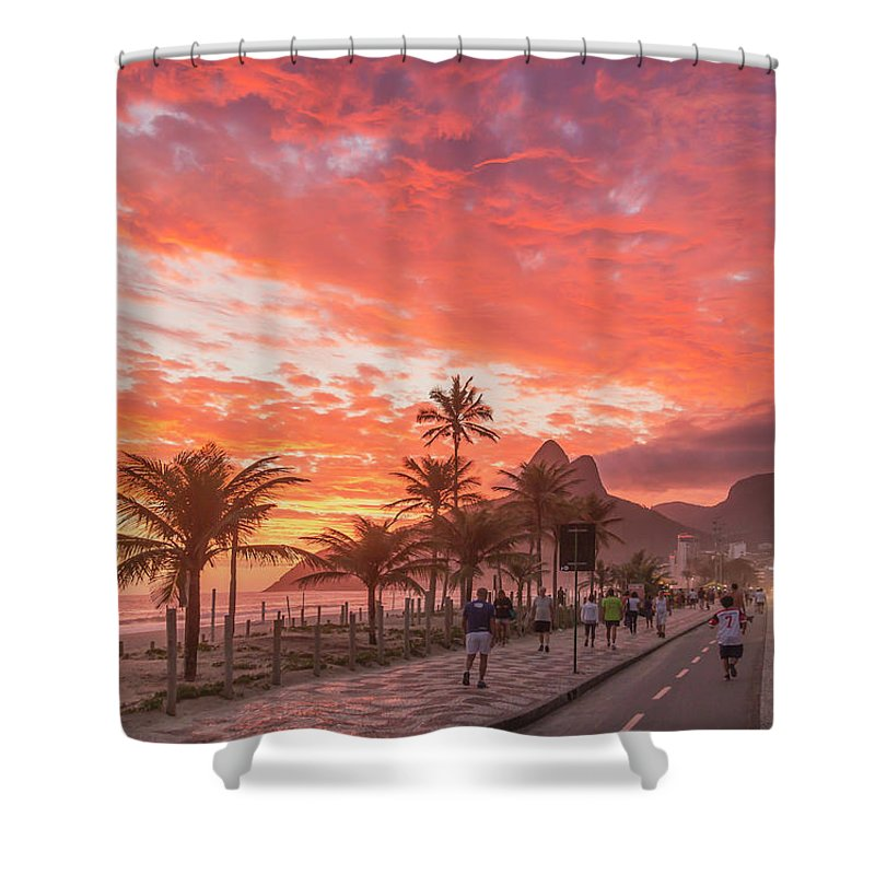 Majestic Shower Curtain featuring the photograph Sunset Over Ipanema Beach by Buena Vista Images