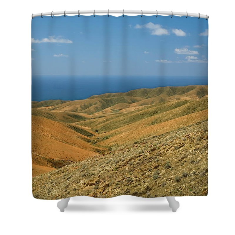 Scenics Shower Curtain featuring the photograph The Barren Hills Of Western by Roel Meijer