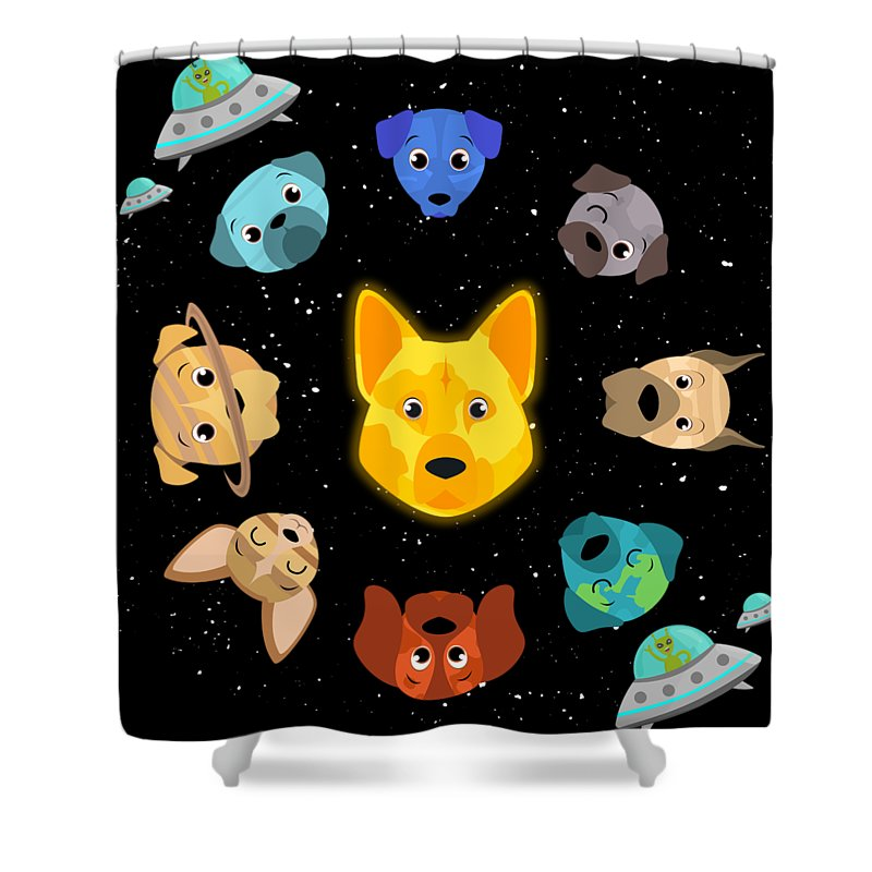 Dog Shower Curtain Featuring The Digital Art Solar System Spaceship Satellite By Mister Tee