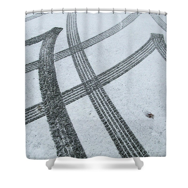 Black Color Shower Curtain featuring the photograph Tire Tracks In Snow, Winter by Jerry Whaley