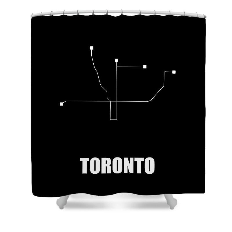 Toronto Shower Curtain featuring the digital art Toronto Black Subway Map by Naxart Studio