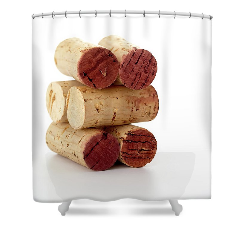 White Background Shower Curtain featuring the photograph Wine Corks Serie Of 28 Images by Luso
