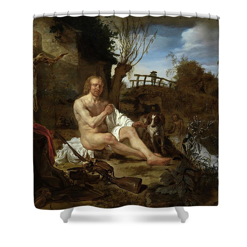 Gabriel Metsu Shower Curtain featuring the painting Woman Selling Game From A Stall by Gabriel Metsu