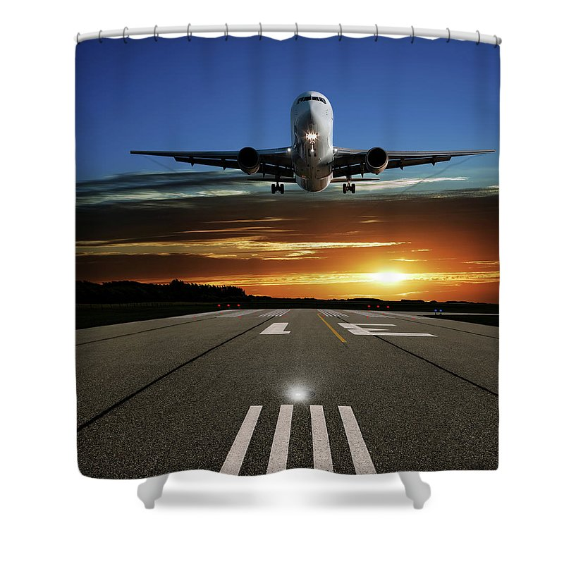 Orange Color Shower Curtain featuring the photograph Xl Jet Airplane Landing At Sunset by Sharply done