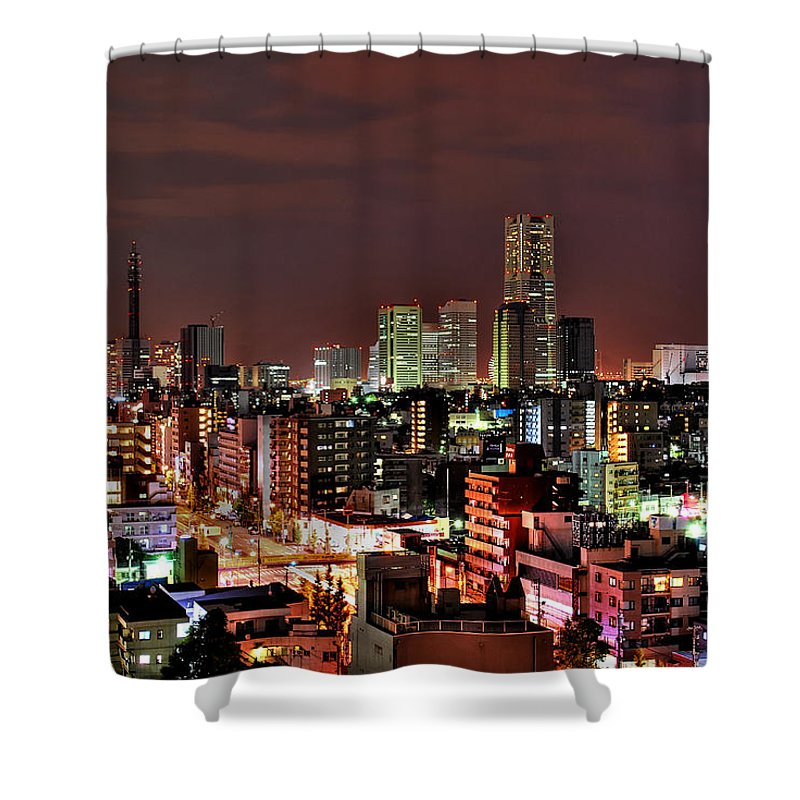 Tranquility Shower Curtain featuring the photograph Yokohama Nightscape by Copyright Artem Vorobiev