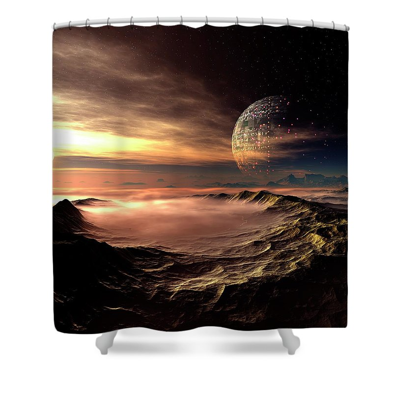 Concepts & Topics Shower Curtain featuring the digital art Alien Planet, Artwork by Mehau Kulyk