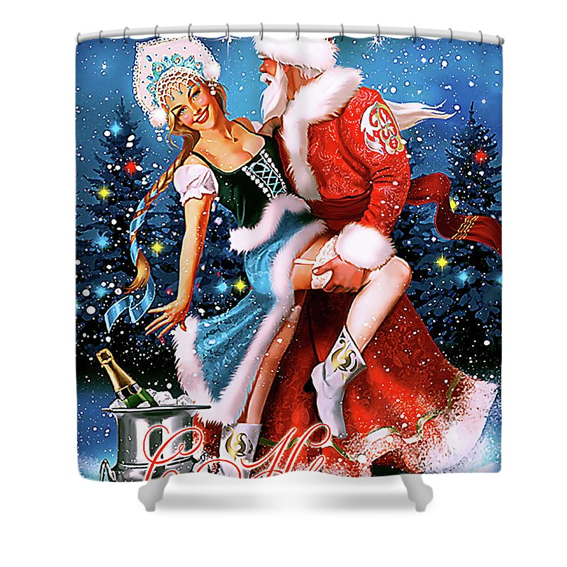 Santa Claus Shower Curtain featuring the digital art Vintage Soviet Holiday Postcard by Long Shot