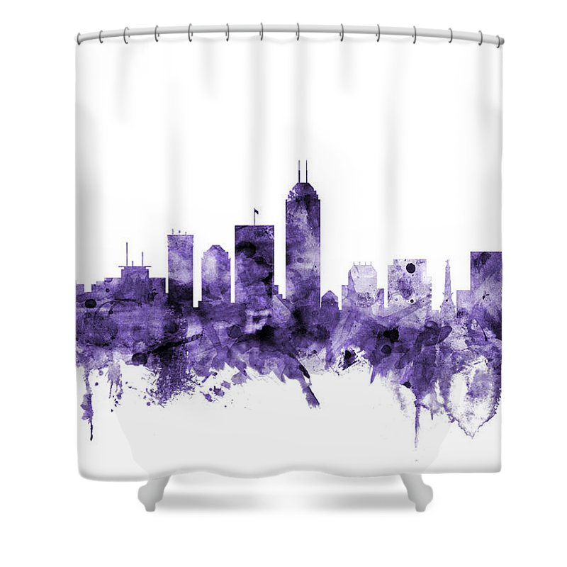 Indianapolis Shower Curtain featuring the digital art Indianapolis Indiana Skyline by Michael Tompsett