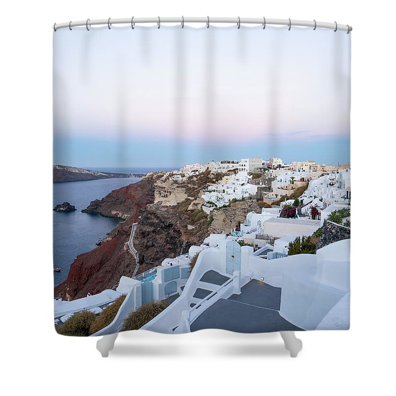 Tranquility Shower Curtain featuring the photograph Santorini Greece by Neil Emmerson