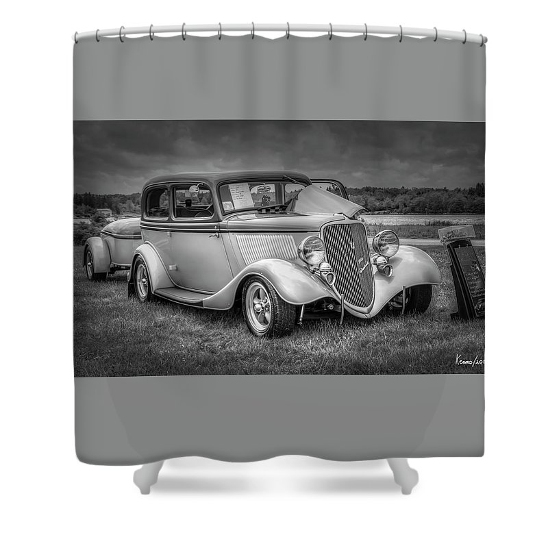 2019 Shower Curtain featuring the digital art 1933 Ford Tudor Sedan With Trailer by Ken Morris