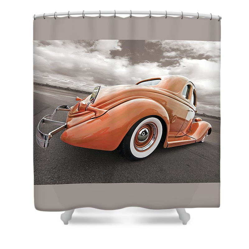 Hotrod Shower Curtain featuring the photograph 1935 Ford Coupe In Bronze by Gill Billington