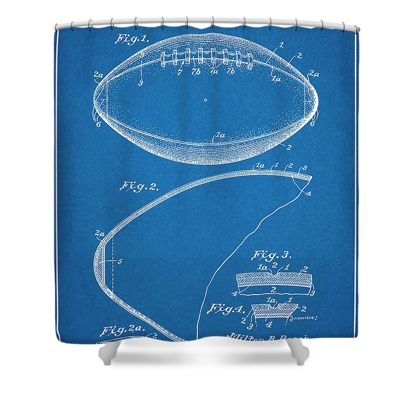 1936 Reach Football Patent Print Shower Curtain featuring the drawing 1936 Reach Football Blueprint Patent Print by Greg Edwards