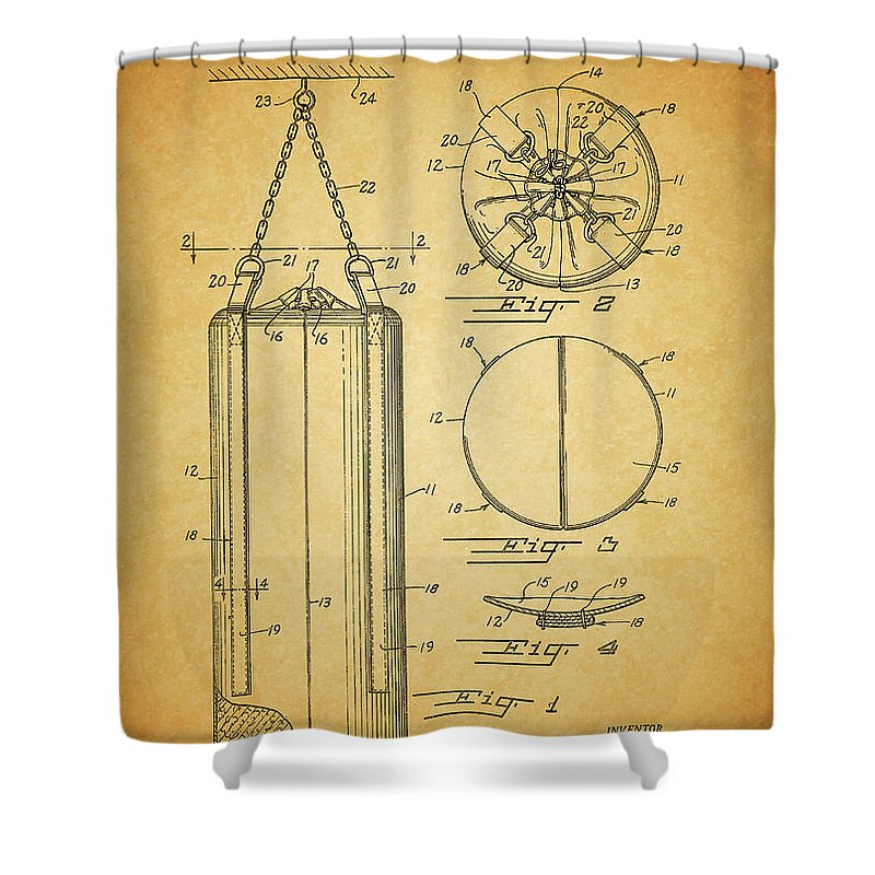 1939 Punching Bag Patent Shower Curtain featuring the drawing 1939 Punching Bag Patent by Dan Sproul