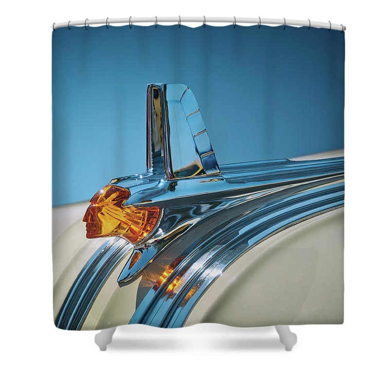 Vehicle Shower Curtain featuring the photograph 1953 Pontiac Hood Ornament by Scott Norris