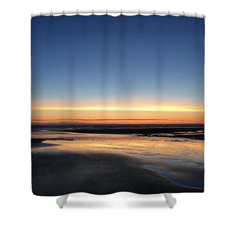 Shower Curtain featuring the photograph Beach Sunset, Blackpool, Uk 09/2017 by Michael Kane