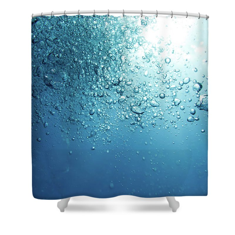 Underwater Shower Curtain featuring the photograph Bubbles by Mutlu Kurtbas