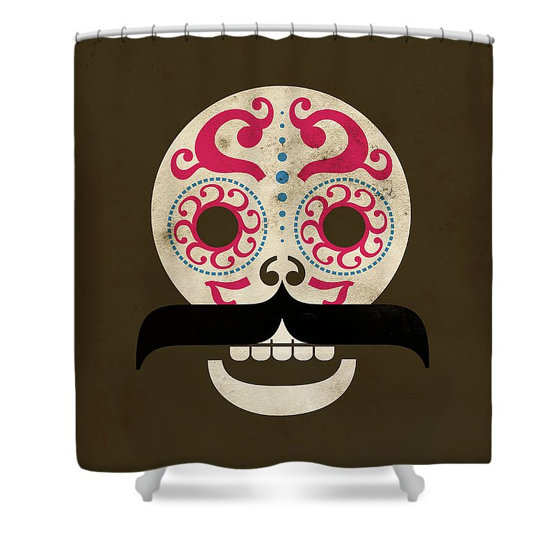 Black Color Shower Curtain featuring the digital art Calaca by Marco Recuero