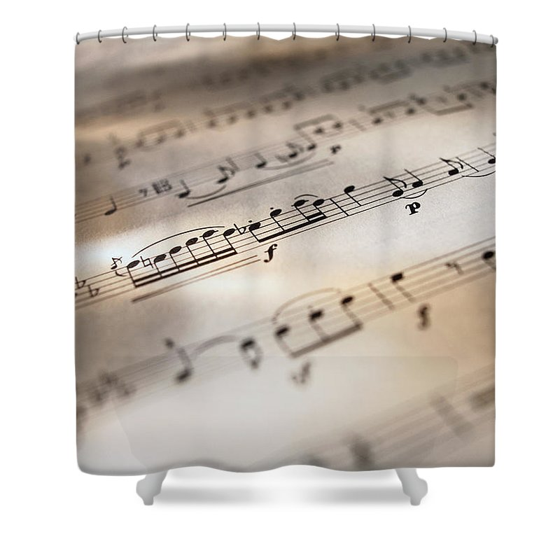 Sheet Music Shower Curtain featuring the photograph Detail Of Sheet Music by Ryan Mcvay