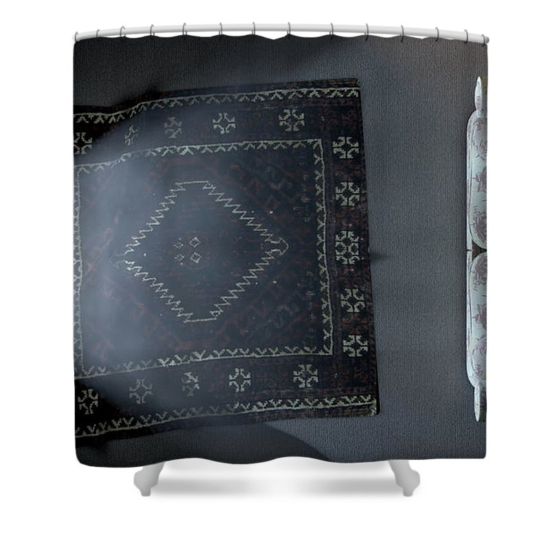 Old Shower Curtain featuring the digital art Illuminated Television And Lonely Old Couch 2 by Allan Swart