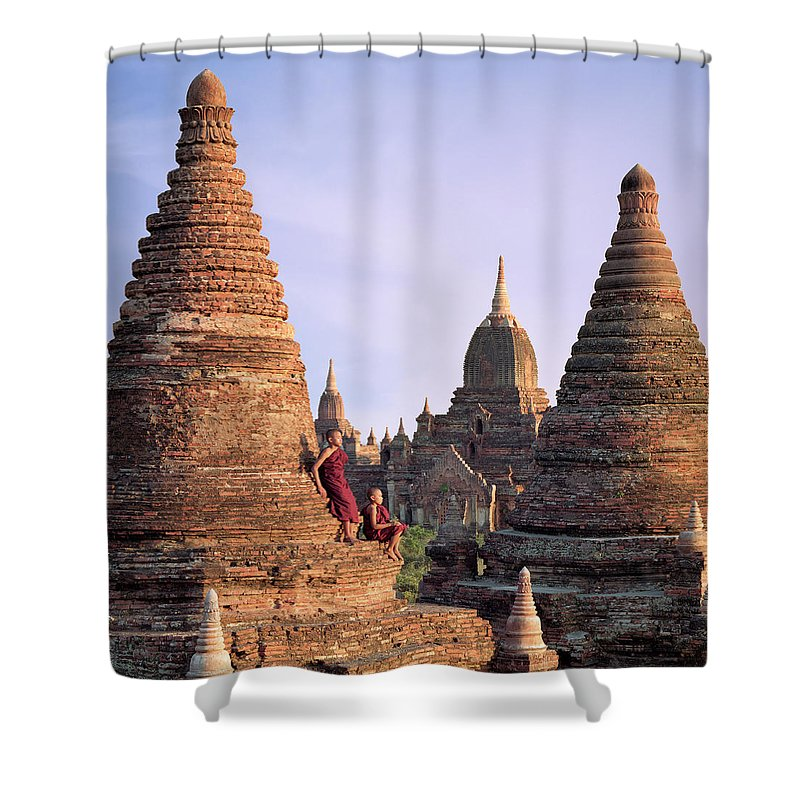 Child Shower Curtain featuring the photograph Myanmar, Bagan, Buddhist Monks On Temple by Martin Puddy