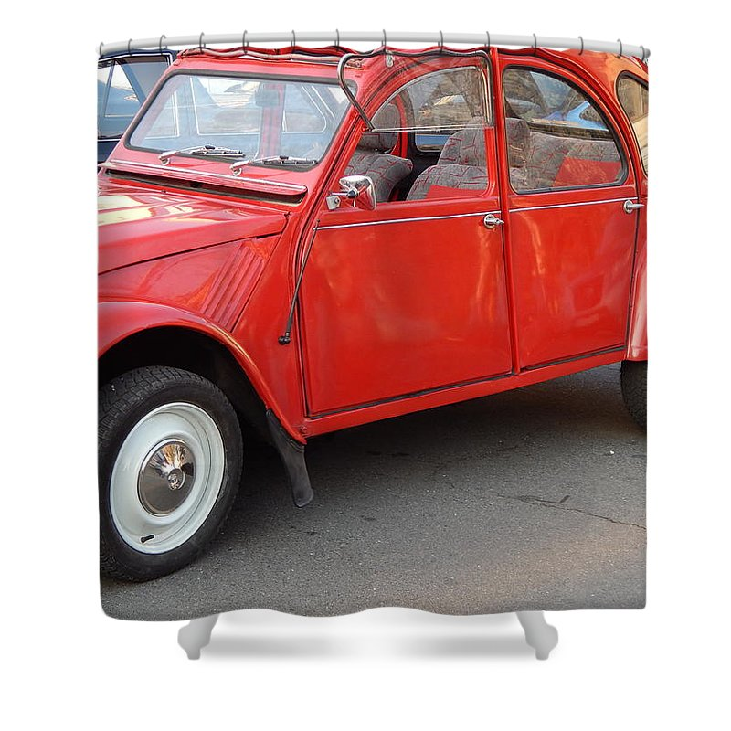 Body Shower Curtain featuring the photograph Retro cars parts and body elements by Oleg Prokopenko