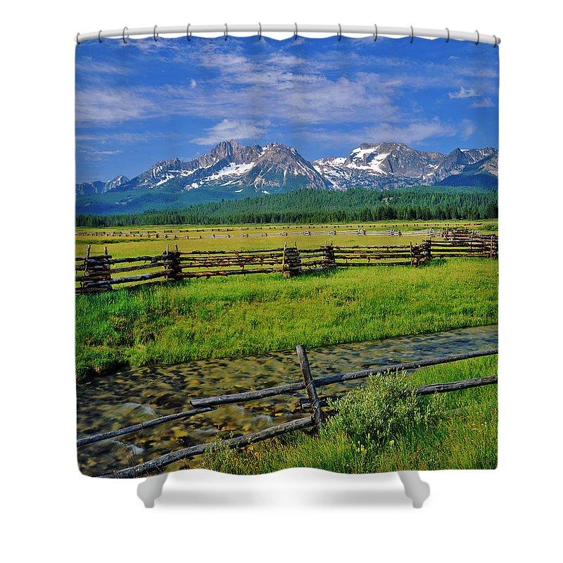 Scenics Shower Curtain featuring the photograph Sawtooth Mountain Range, Idaho by Ron thomas