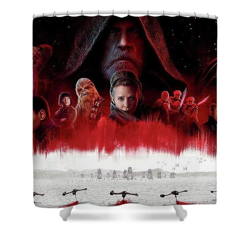 Star Wars The Last Jedi Shower Curtain featuring the digital art Star Wars The Last Jedi by Geek N Rock