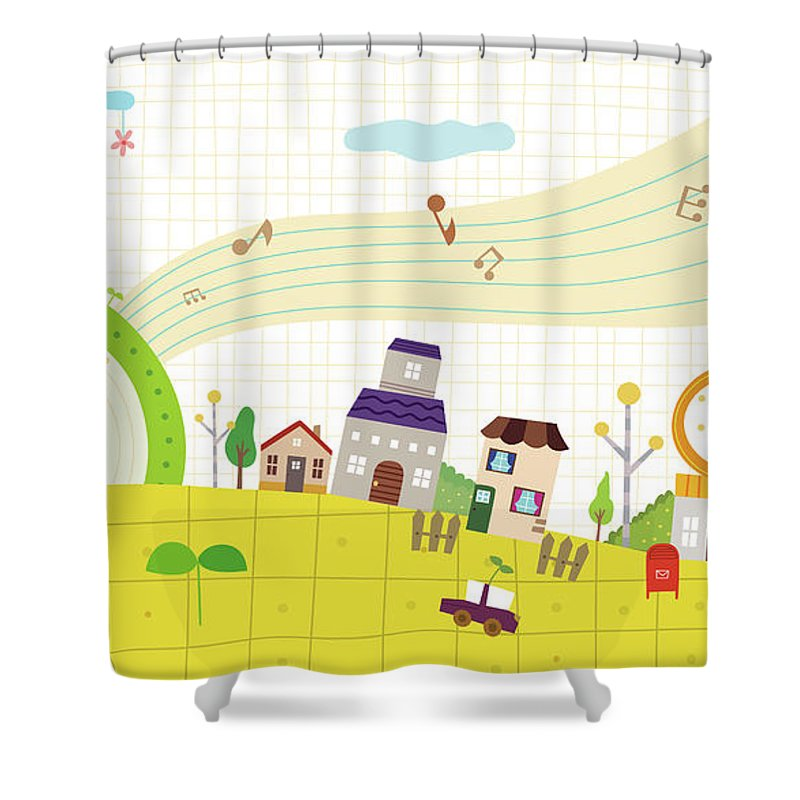 Clock Tower Shower Curtain featuring the digital art View Of Town by Eastnine Inc.