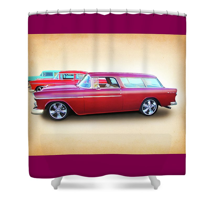1955 Chevy Shower Curtain featuring the digital art 3 - 1955 Chevy's by Rick Wicker