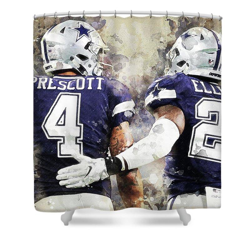 Dallas Cowboys Shower Curtain featuring the digital art Dallas Cowboys by Nadezhda Zhuravleva