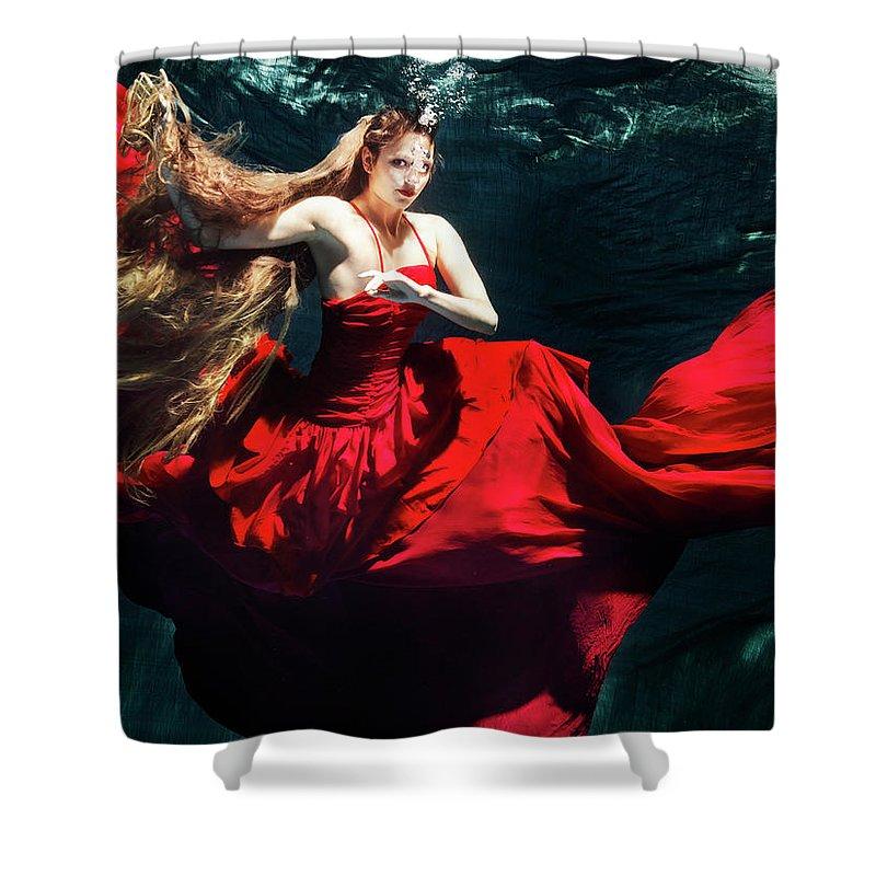 Ballet Dancer Shower Curtain featuring the photograph Female Dancer Performing Under Water by Henrik Sorensen