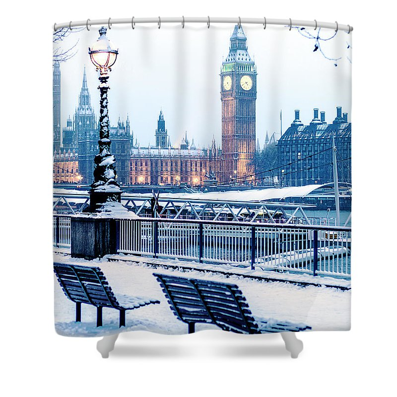 Clock Tower Shower Curtain featuring the photograph Houses Of Parliament In The Snow by Doug Armand