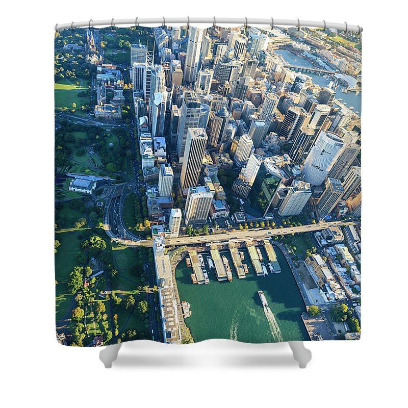 Shadow Shower Curtain featuring the photograph Sydney Downtown - Aerial View by Btrenkel