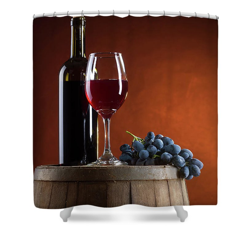 Rose Wine Shower Curtain featuring the photograph White Wine Composition by Valentinrussanov