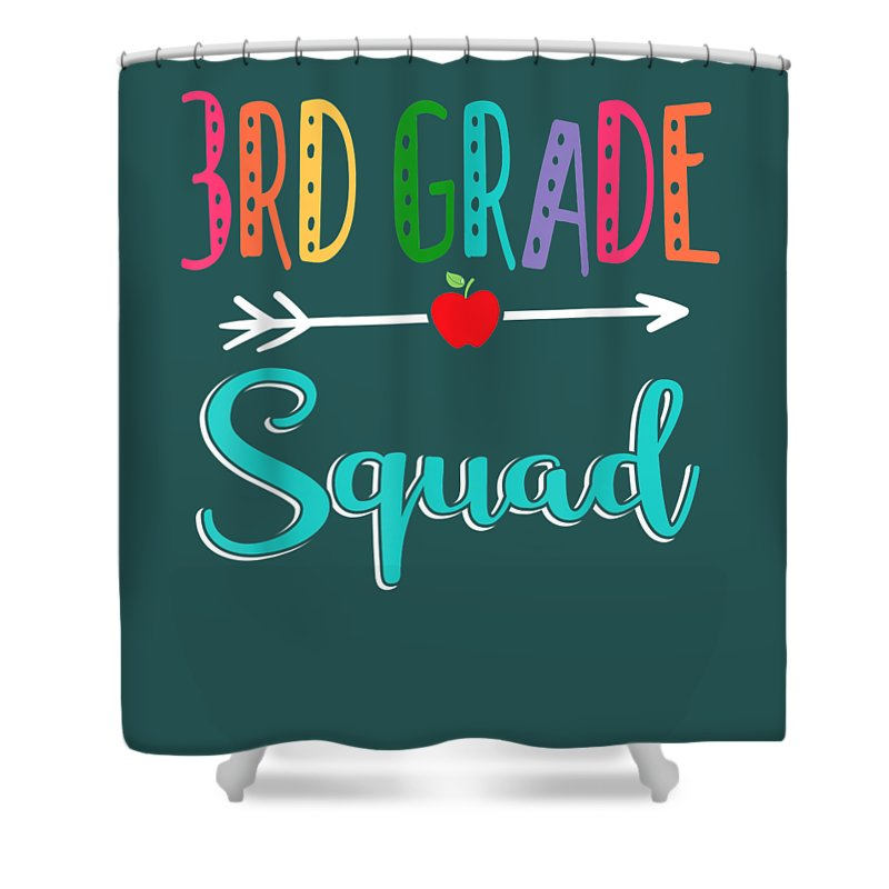 girls' Novelty T-shirts Shower Curtain featuring the digital art 3rd Grade Squad Teacher Back To School Tshirt by Do David