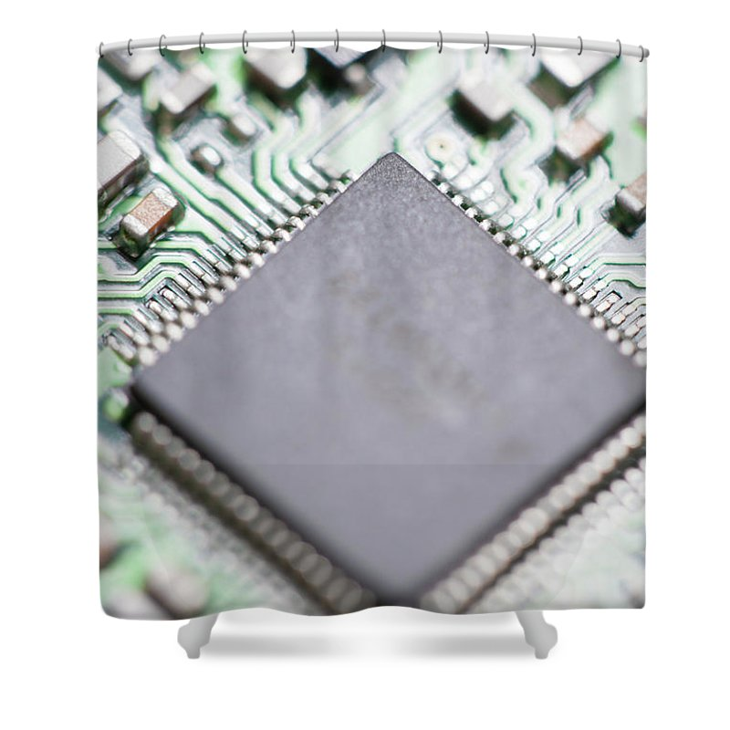 Electrical Component Shower Curtain featuring the photograph Close-up Of A Circuit Board by Nicholas Rigg