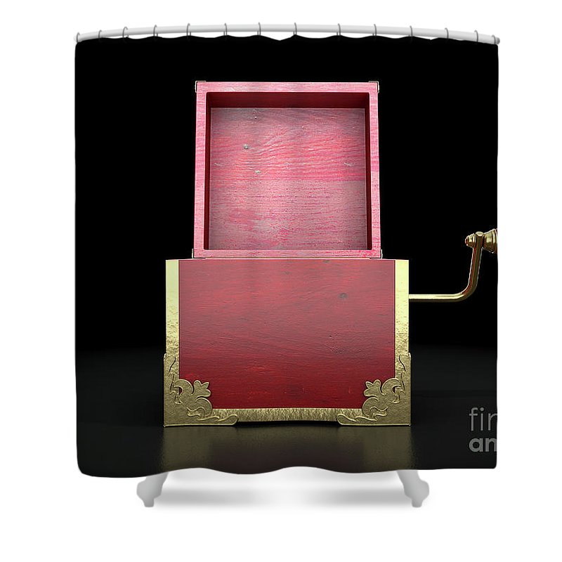 Box Shower Curtain featuring the digital art Open Jack-in-the-box Antique by Allan Swart