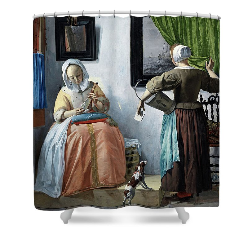 Gabriel Metsu Shower Curtain featuring the painting Woman Reading A Letter by Gabriel Metsu