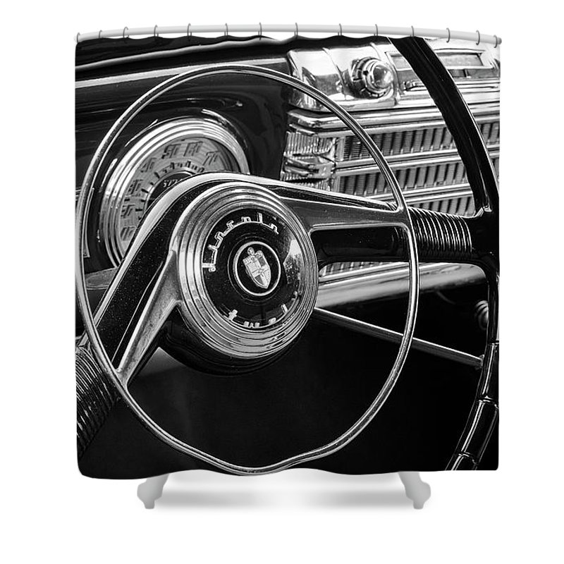 Lincoln Shower Curtain featuring the photograph '47 Lincoln Continental Steering And Dash by Dennis Hedberg